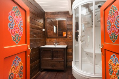 Prive badkamer in yurt